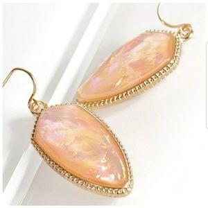 Jewelry - Peach Opal Acetate Marquee Earrings